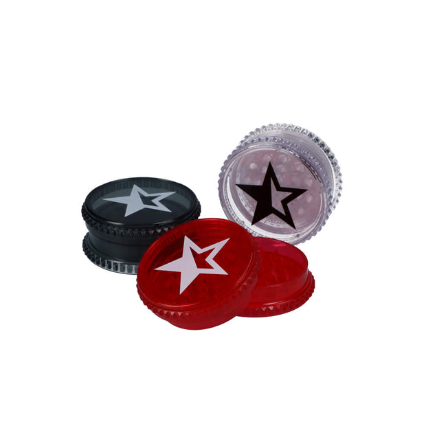 Famous X 59mm Acrylic Grinder – Tray of 12 – Black/Red/White