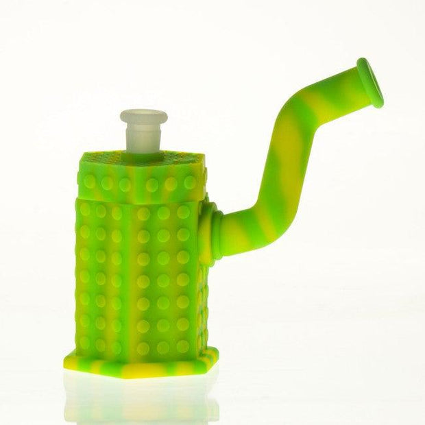 "Silicone Hexagon Bubbler w/Titanium Nail & Silicone Stem & Secret Storage 6"" Green & Yellow"