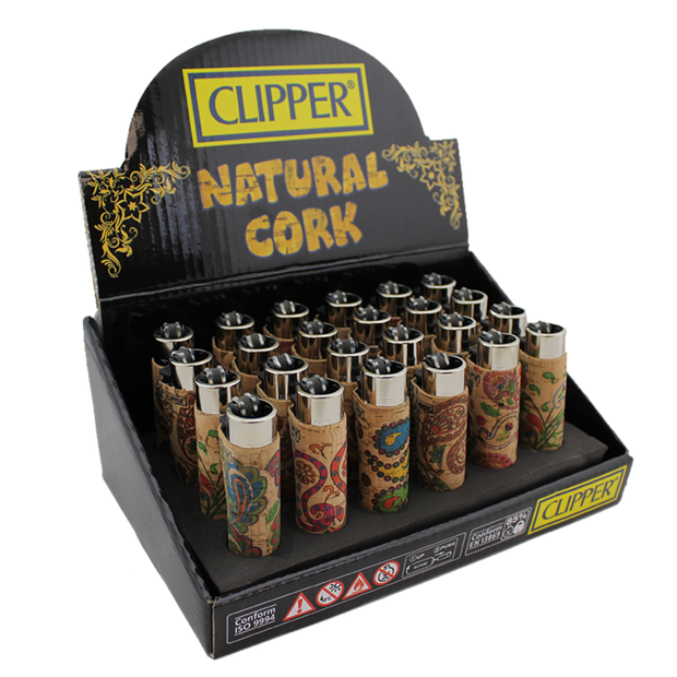 Clipper Lighter – Cork – [Leaves/Cachemir] – 24 Pack