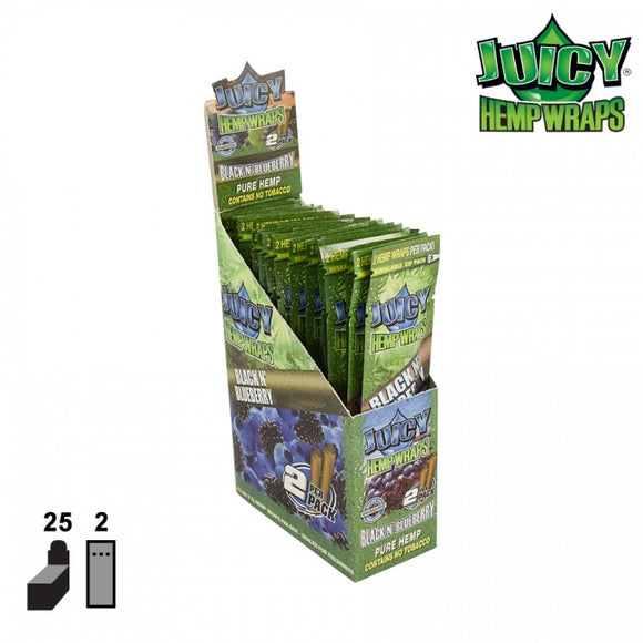 JUICY JAY HEMP WRAPS 2X BLACK AND BLUEBERRY WILD, BOX OF 25 2/PACK