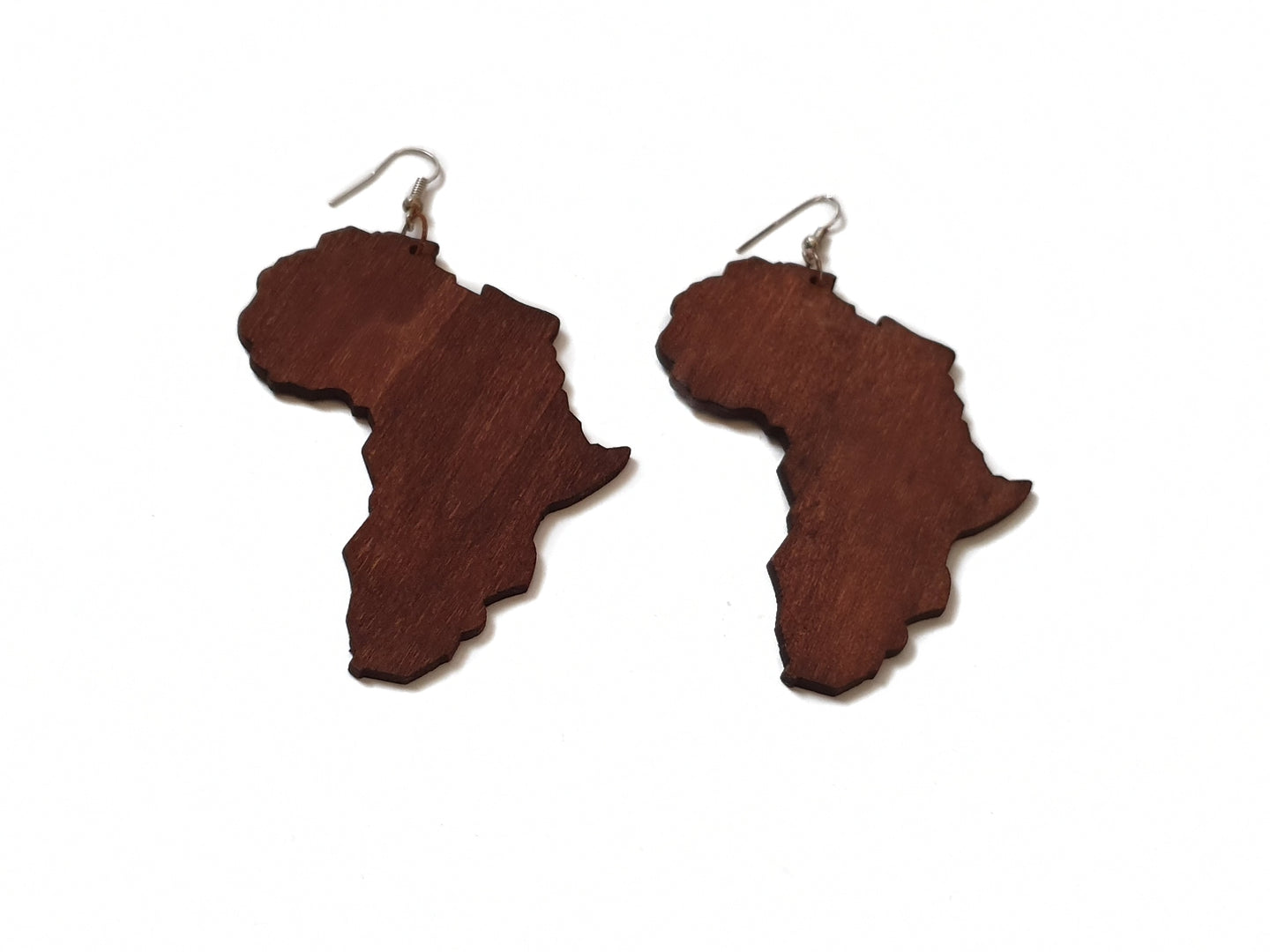 Map of Africa wooden earrings in dark brown wood with silver tone hook on white background
