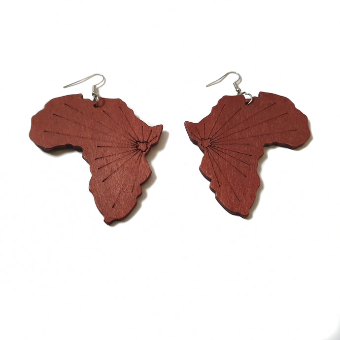 Map of Africa wooden earrings with brown wood and painted black lines with silver tone hook on white background