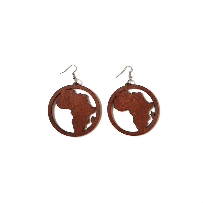 Map of Africa wooden earrings inside a circle with dark brown wood with silver tone hook on white background.