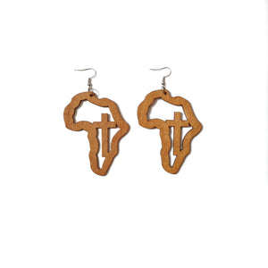 Map of Africa wooden earrings with cross in beige brown wood with silver tone hook on white background