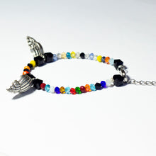 Load image into Gallery viewer, Multicoloured beaded bracelet made of crystal beads featuring metallic seashell pendants and a chain clasp design