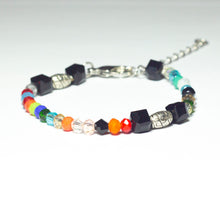 Load image into Gallery viewer, Multicoloured beaded bracelet made of crystal beads featuring engraved cylinder pendants and a chain clasp design