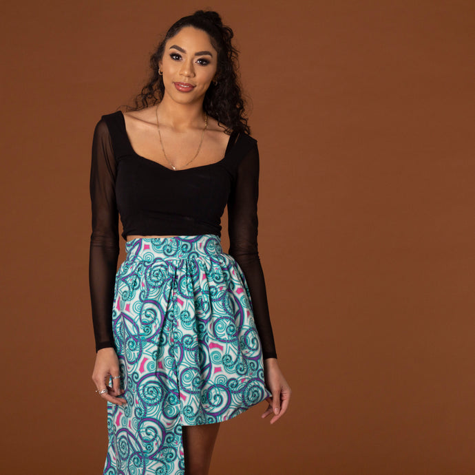 Teal high-low skater skirt in blue swirl ankara fabric