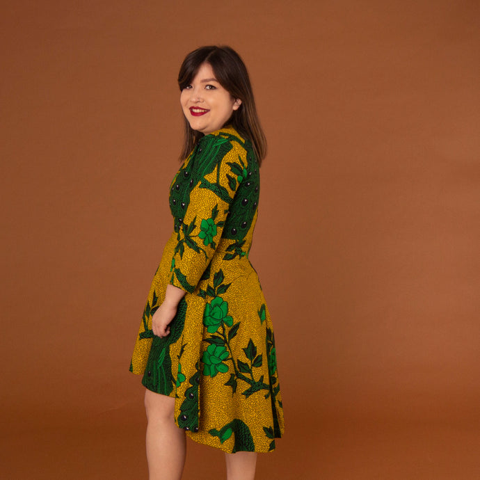 African print high-low dress made from green and lime Ankara wax print
