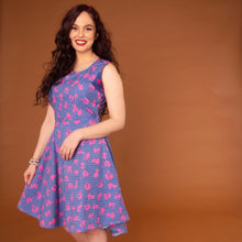Load image into Gallery viewer, African print high-low skater dress in a blue and pink ankara fabric