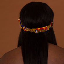 Load image into Gallery viewer, African print criss cross turban style headband made from kente wax print
