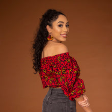 Load image into Gallery viewer, Off-shoulder African print crop top with three-quarter balloon sleeves and elasticated waist, arms and neckline in red and yellow ankara wax print