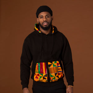 Black hoodie with a kente wax print trim on the pockets, hood and a strip of the print on the back