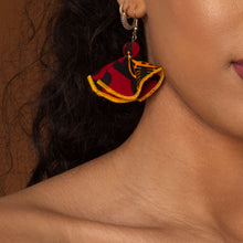 Load image into Gallery viewer, African print butterfly earrings with a striking red, yellow and black ankara fabric
