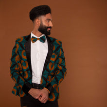Load image into Gallery viewer, African print bow tie in a geometric green and orange ankara wax print