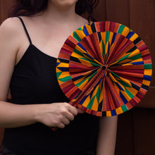 Load image into Gallery viewer, Kente African Print Leather Bound Fan