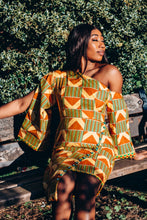 Load image into Gallery viewer, Ama African Print Kente Cape Dress