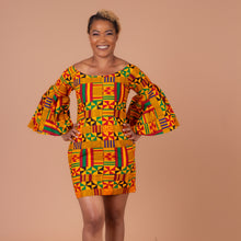 Load image into Gallery viewer, Aryee Kente African Print Flare Sleeved Dress