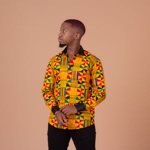 Kente African Print Long Sleeved Shirt