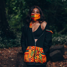 Load image into Gallery viewer, Black woman in a black hoodie with a multicoloured kente pattern on the pocket and hood he hood is on top of her long black hair and she is looking ahead with a mask on