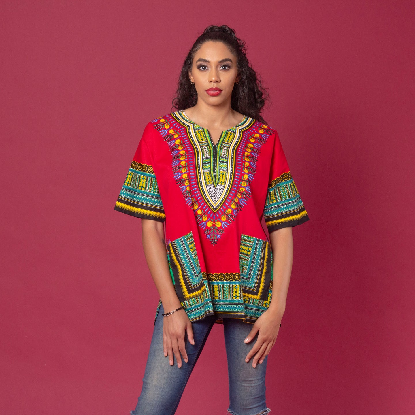 Unisex red african print classic danshiki also known as dashiki