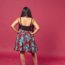 Load image into Gallery viewer, African print skater skirt in pink, blue and brown ankara wax print