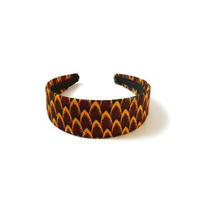 African print wrapped alice headband made from yellow and burgundy ankara wax print