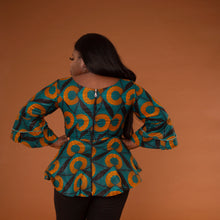 Load image into Gallery viewer, Adetayo Peplum Flared-Sleeve Top