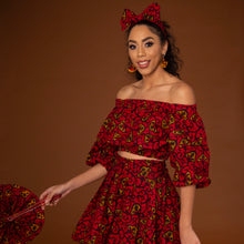 Load image into Gallery viewer, African print balloon sleeve crop top and matching high waisted flare skirt a striking red, yellow and black ankara fabric