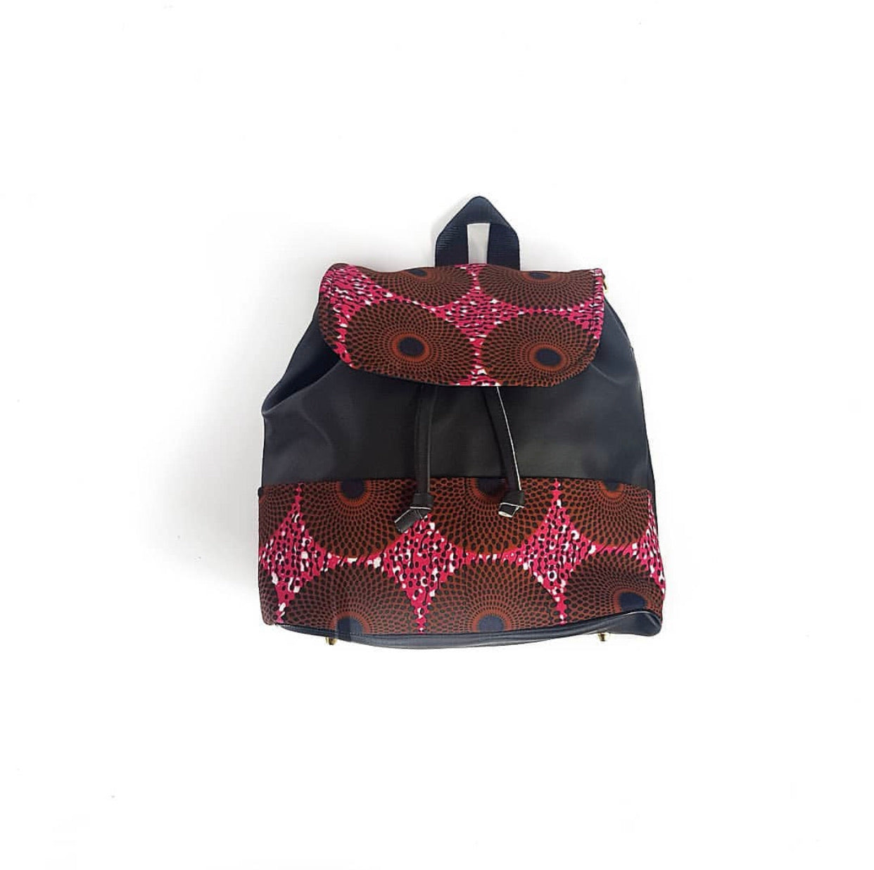 Black multiway backpack with african print overlay in pink and brown ankara wax print
