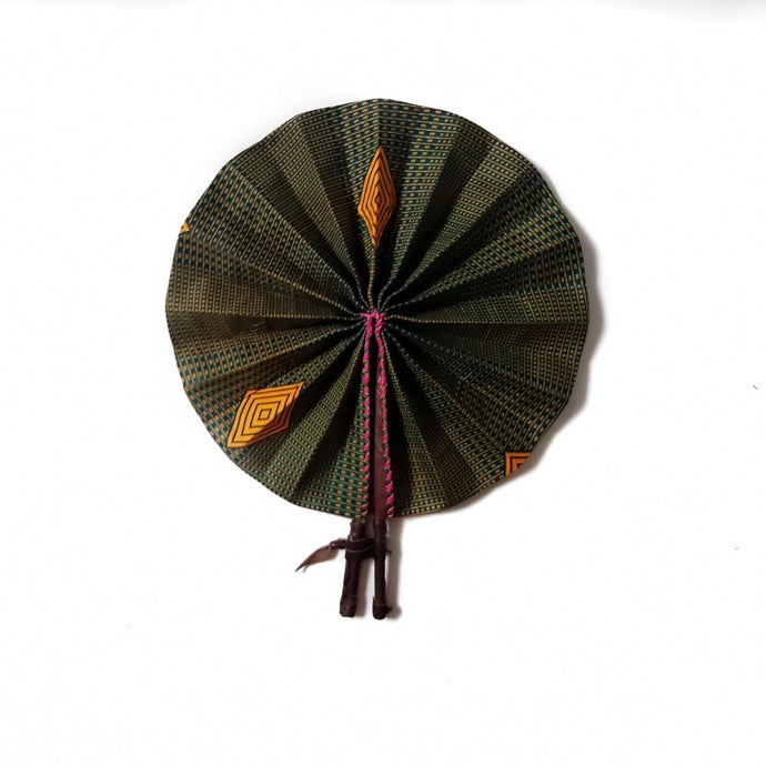 African print fan made from black and gold gometric patterned Ankara wax print
