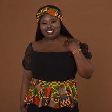 Load image into Gallery viewer, Kente African Print Peplum Belt