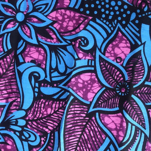 Purple and blue african print ankara wax fabric in floral pattern