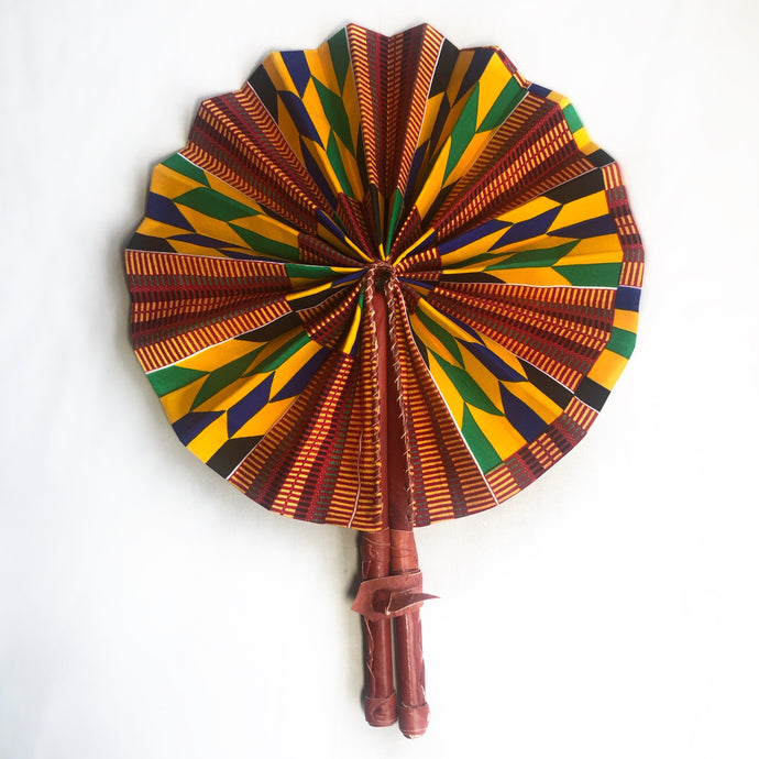 Aryee Kente African Print Leather Bound Fan