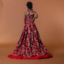 Load image into Gallery viewer, Back view of red african print cape in floral ankara wax print fastened at the waist
