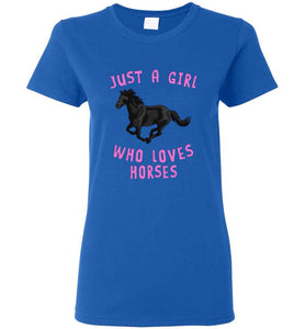 RobustCreative-Just a Girl Who Loves Black Horses: Animal Spirit Women's T-Shirt