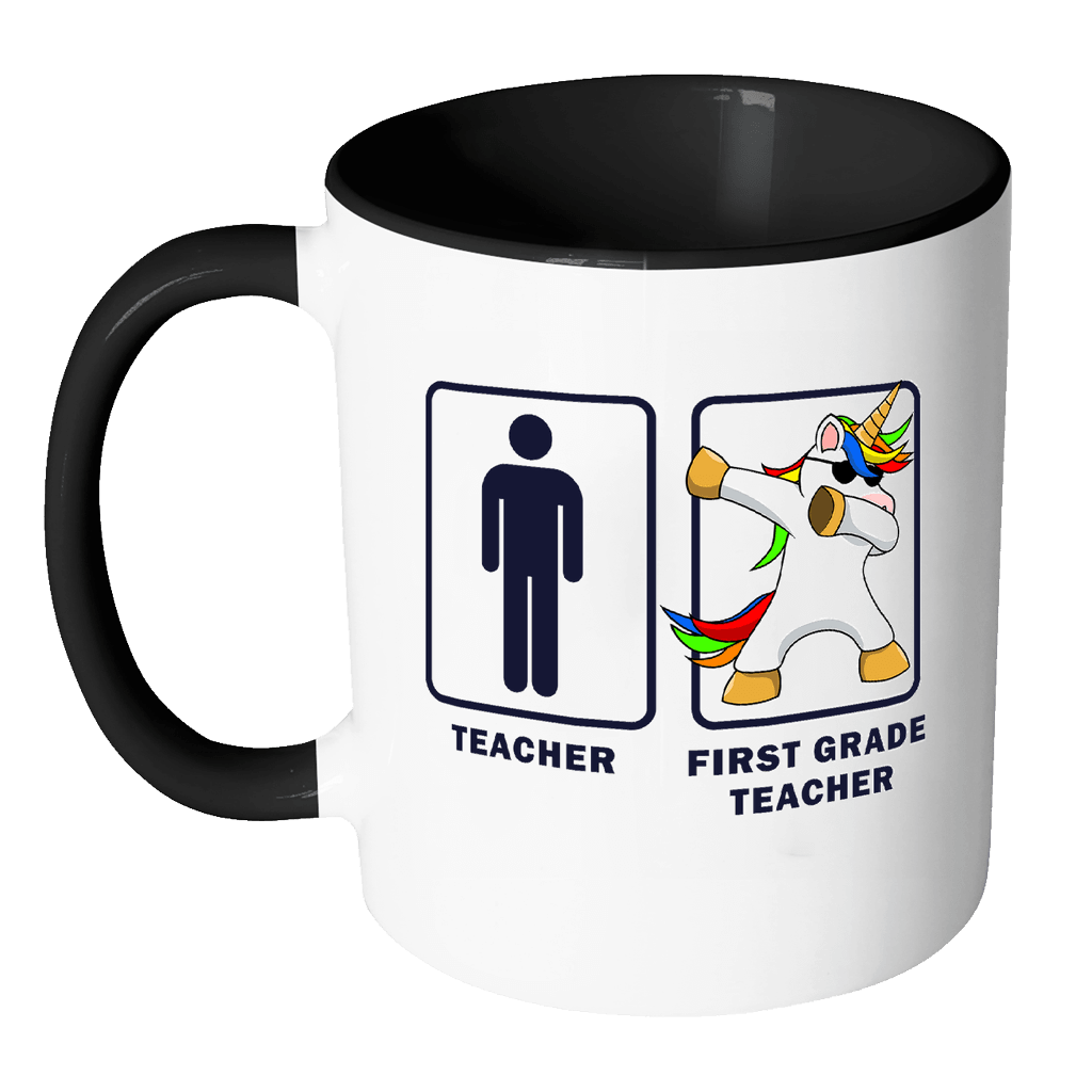 1st First Grade Teacher Dabbing Unicorn - Teacher Appreciation 11oz Funny  Black & White Coffee Mug - Graduation First Last Day Teaching Students -