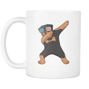 RobustCreative-Dabbing Rottweiler Dog America Flag - Patriotic Merica Murica Pride - 4th of July USA Independence Day - 11oz White Funny Coffee Mug Women Men Friends Gift ~ Both Sides Printed