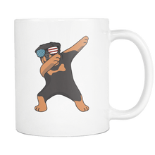 Load image into Gallery viewer, RobustCreative-Dabbing Rottweiler Dog America Flag - Patriotic Merica Murica Pride - 4th of July USA Independence Day - 11oz White Funny Coffee Mug Women Men Friends Gift ~ Both Sides Printed