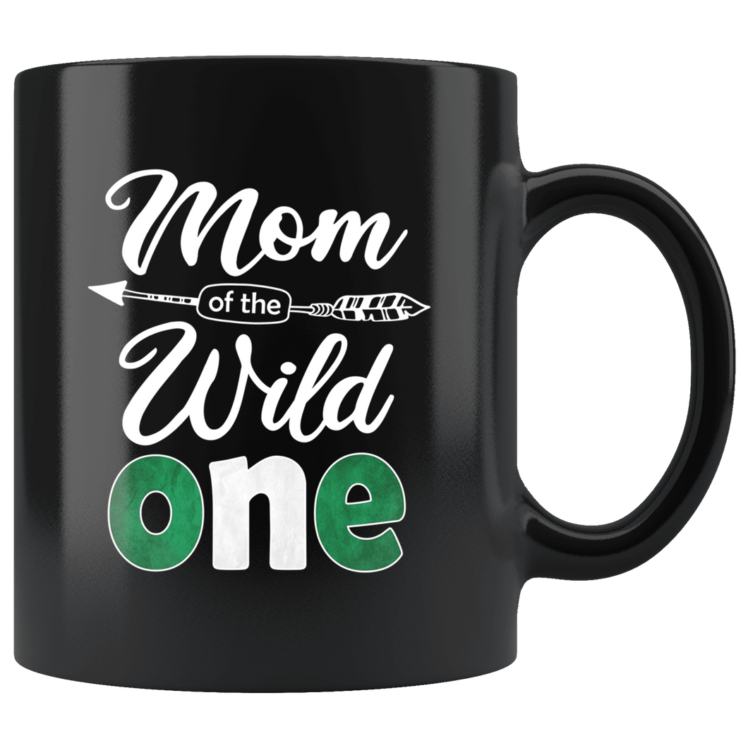 RobustCreative-Nigerian Mom of the Wild One Birthday Nigeria Flag Black 11oz Mug Gift Idea