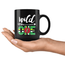 Load image into Gallery viewer, RobustCreative-Dominica Wild One Birthday Outfit 1 Dominican Flag Black 11oz Mug Gift Idea