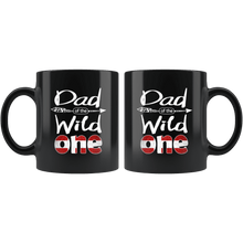 Load image into Gallery viewer, RobustCreative-Danish Dad of the Wild One Birthday Denmark Flag Black 11oz Mug Gift Idea