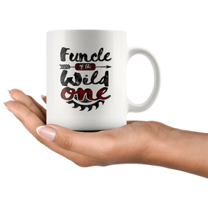 RobustCreative-Funcle of the Wild One Lumberjack Woodworker Sawdust - 11oz White Mug red black plaid Woodworking saw dust Gift Idea