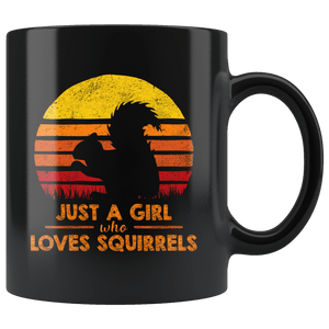 RobustCreative-Just a Girl Who Loves Squirrels Retro Sunset Silhouette Vintage Safari Black 11oz Mug Gift Idea