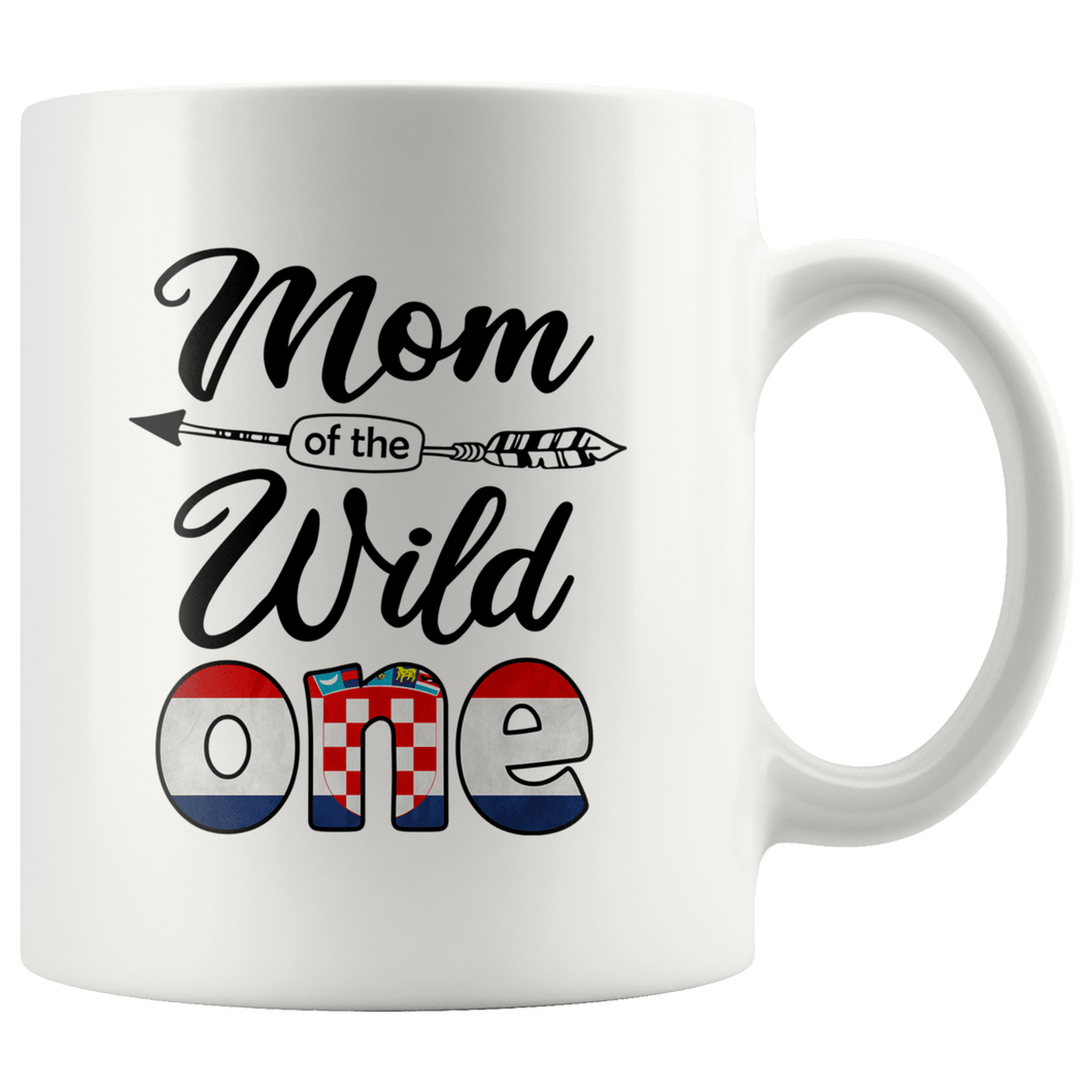 RobustCreative-Croatian Mom of the Wild One Birthday Croatia Flag White 11oz Mug Gift Idea