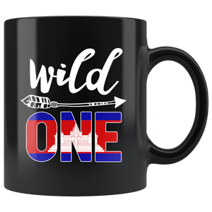 RobustCreative-Cambodia Wild One Birthday Outfit 1 Cambodian Flag Black 11oz Mug Gift Idea