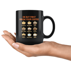 RobustCreative-Ok But First Coffee Funny Coworker Saying Gift Idea - 11oz Black Mug barista coffee maker Gift Idea
