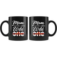 Load image into Gallery viewer, RobustCreative-English Mom of the Wild One Birthday England Flag Black 11oz Mug Gift Idea
