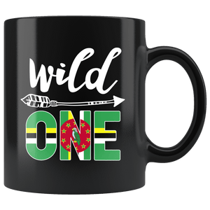 RobustCreative-Dominica Wild One Birthday Outfit 1 Dominican Flag Black 11oz Mug Gift Idea