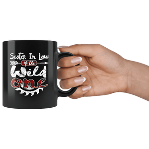RobustCreative-Sister In Law of the Wild One Lumberjack Woodworker - 11oz Black Mug measure once plaid pajamas Gift Idea