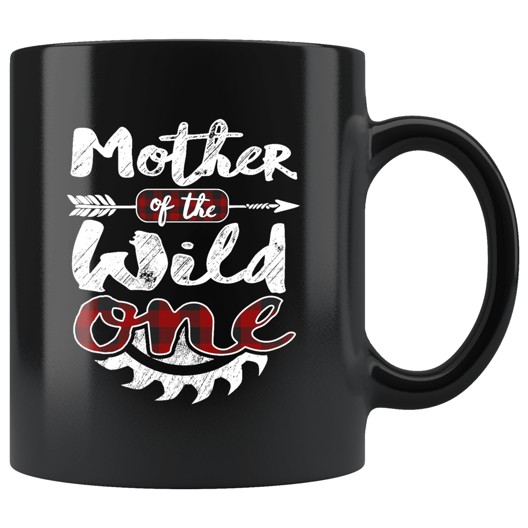 RobustCreative-Mother of the Wild One Lumberjack Woodworker Sawdust Glitter - 11oz Black Mug Sawdust Glitter is mans glitter Gift Idea